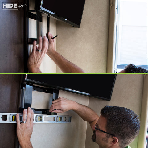 Wall mount game consoles in RV using HIDEit Mounts Gaming Mounts.