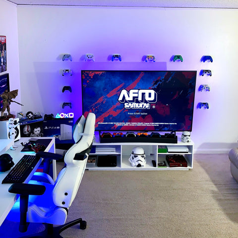 Customer gaming setup with twelve HIDEit Uni-C controller wall mounts