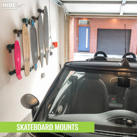 HIDEit Vertical Skateboard Mount stores your favorite board or organizes your gear.