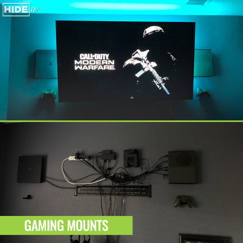 PlayStation and Xbox consoles with controllers wall mounted in HIDEit Mounts.