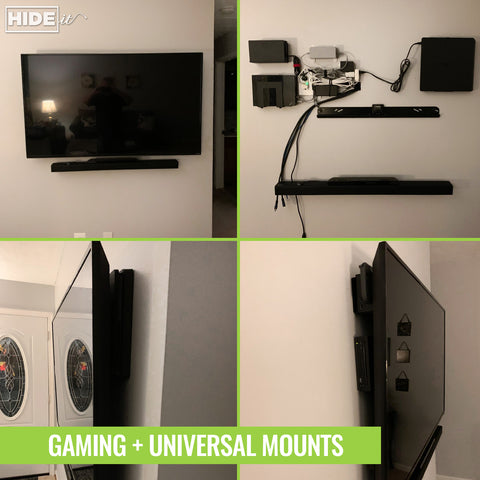 HIDEit gaming and universal mounts safely mount devices behind wall-mounted TVs.