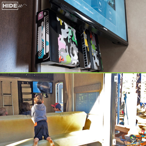 HIDEit Mounts gaming mounts hide game consoles and cords in RVs.