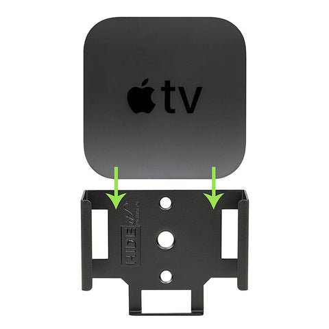 Apple TV 4K easily mounted in a HIDEit ATV4K mount.