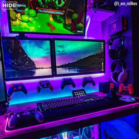 Gaming setup using HIDEit Universal Controller Wall Mounts.
