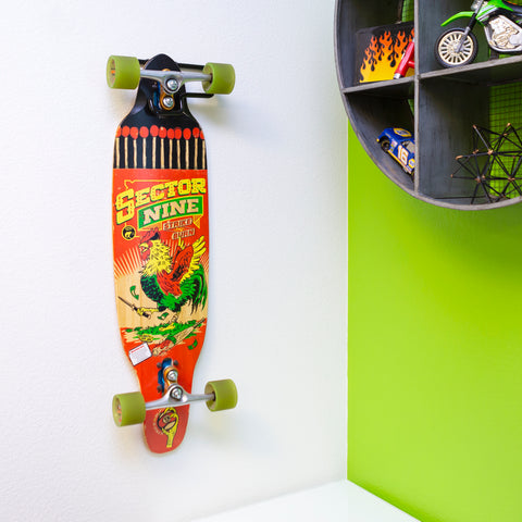 Sector Nine board displayed on wall using HIDEit Display Skate Mount.