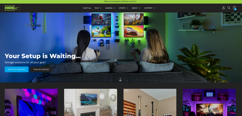 HIDEit Mounts front page of website after redesign
