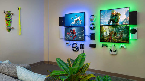 HIDEit HQ Gamer Wall finished with cords hiding behind the TVs