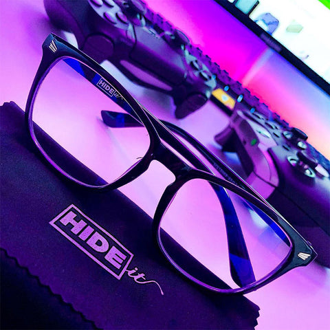 HIDEit affiliate @djlgamiing showing HIDEit Gaming Glasses next to gaming setup