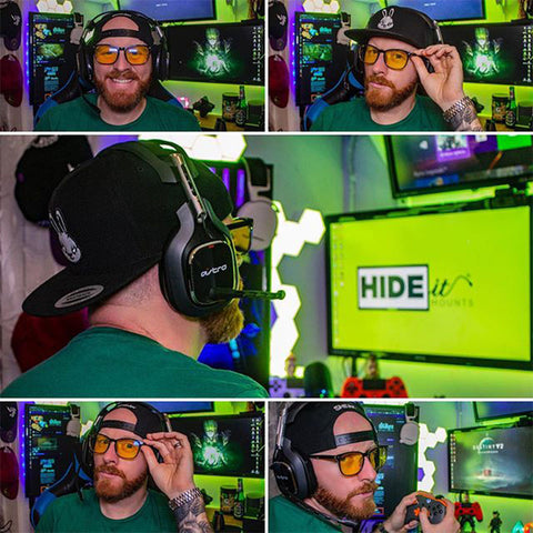 HIDEit affiliate @i_am_milkes wearing HIDEit Gaming Glasses