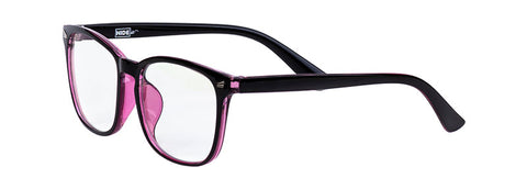 HIDEit blue light blocking gaming glasses in black pink frames with clear lenses