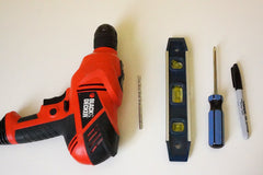 Wall Mount Installation Tools - drill level screwdriver marker