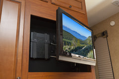 Full motion tv wall mount in rv with HIDEit Cable box wall mount behind