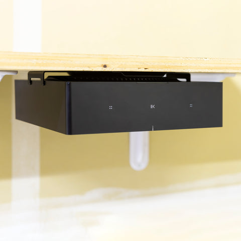 HIDEit Sonos Amp Wall Mount shown under shelf mounted