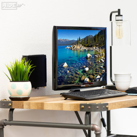 HIDEit Dell Micro Computer wall mounted behind monitor