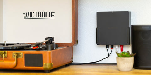 HIDEit Sonos Port Mount wall mounted for easy cable management. Compatible with Sonos Port.