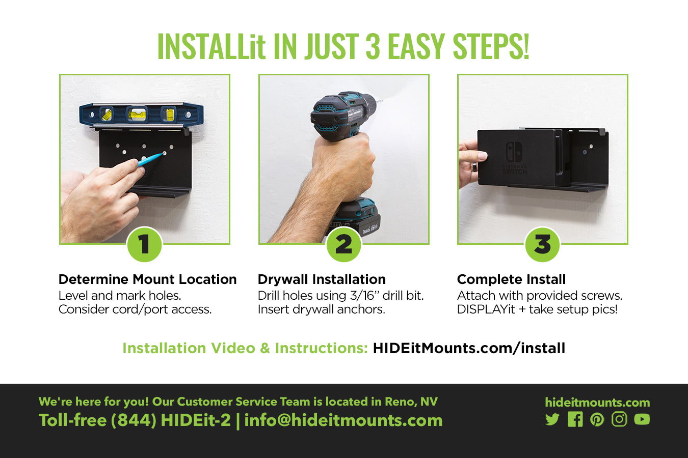 HIDEit Switch Wall Mount Install Instructions