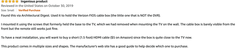 Amazon review for HIDEit Mounts talking about installation of the wall mount and how remote still works