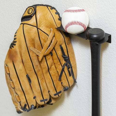 HIDEit Triple Bat Wall Mount storing a baseball bat, baseball, and baseball glove