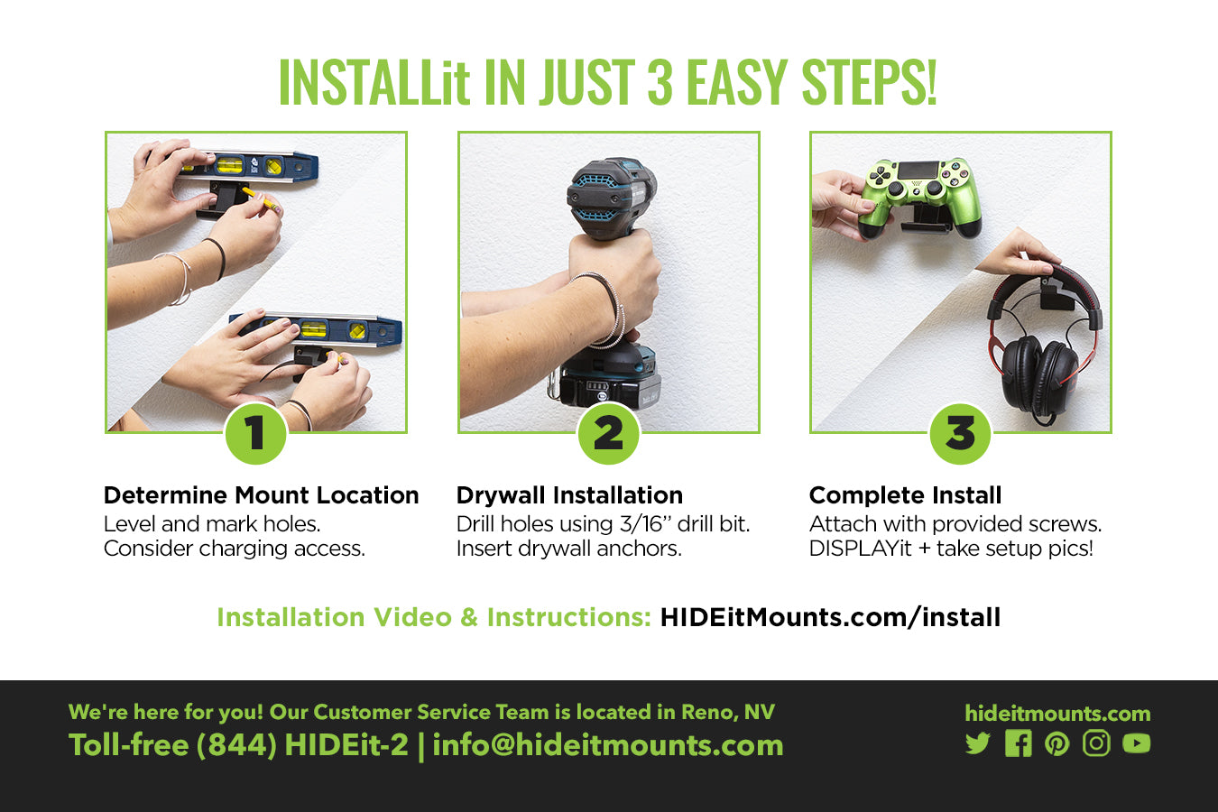 HIDEit Uni-H + Uni-C Wall Mount Install Instructions