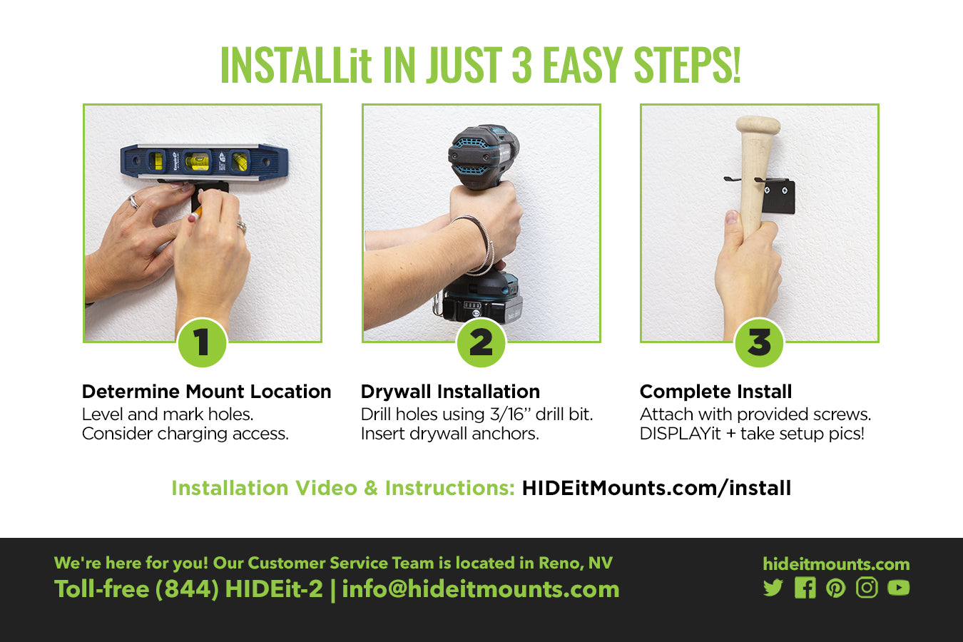 HIDEit VBat Wall Mount Install Instructions