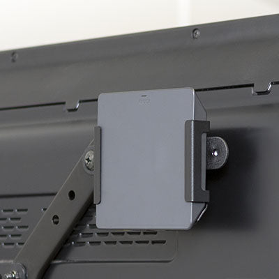 Xfinity Xi5 mounted behind TV using HIDEit Universal Adapter Bracket
