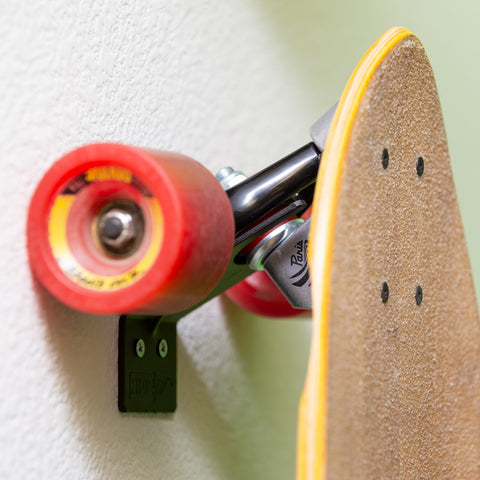 Closeup of HIDEit Vertical Skateboard Mount showing rib for superior strength.