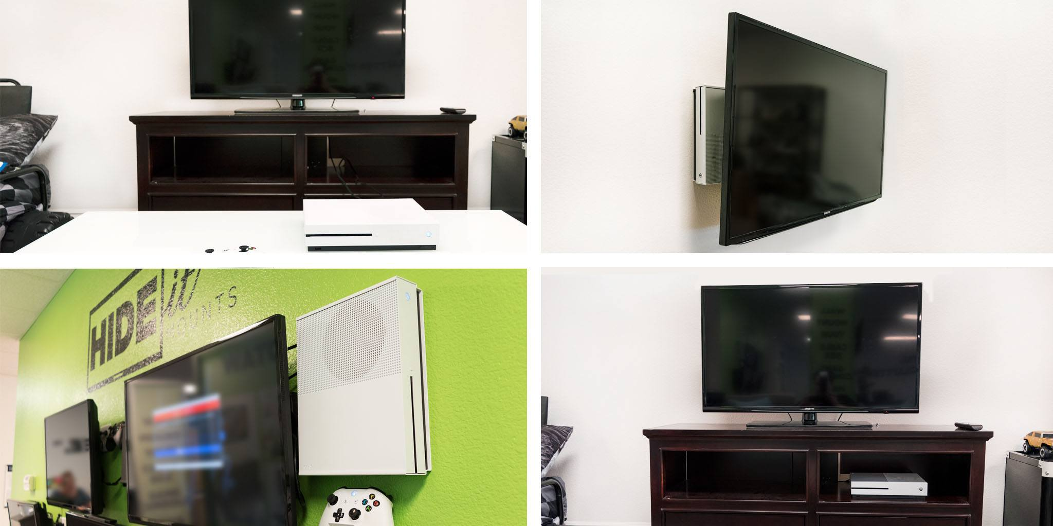 We Tested Our Xbox One S In A Few Common Setups: Flat On A Table, Displayed  On The Wall, On The Wall Behind The TV, And In A Media Cabinet.