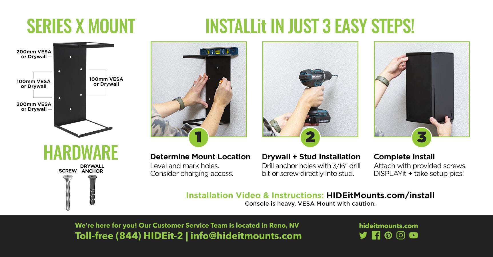 HIDEit Series X Wall Mount Install Instructions