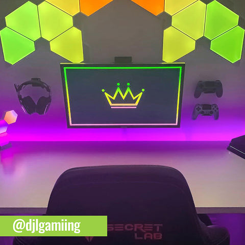 Gaming setup using two HIDEit Uni-C controller mounts and Uni-H headset wall mount