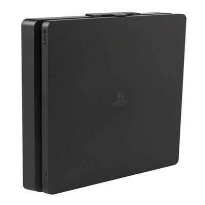 HIDEit Mounts PS4 Slim Wall Mount securely holding PlayStation 4 Slim game console.