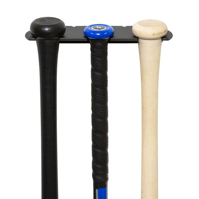Drop 3 Bat, Youth Bat, and Adult Bat securely wall mounted in a HIDEit SPORTS Triple Bat Mount.