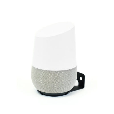 Google Home Speaker mounted in a steel HIDEit Home wall mount.