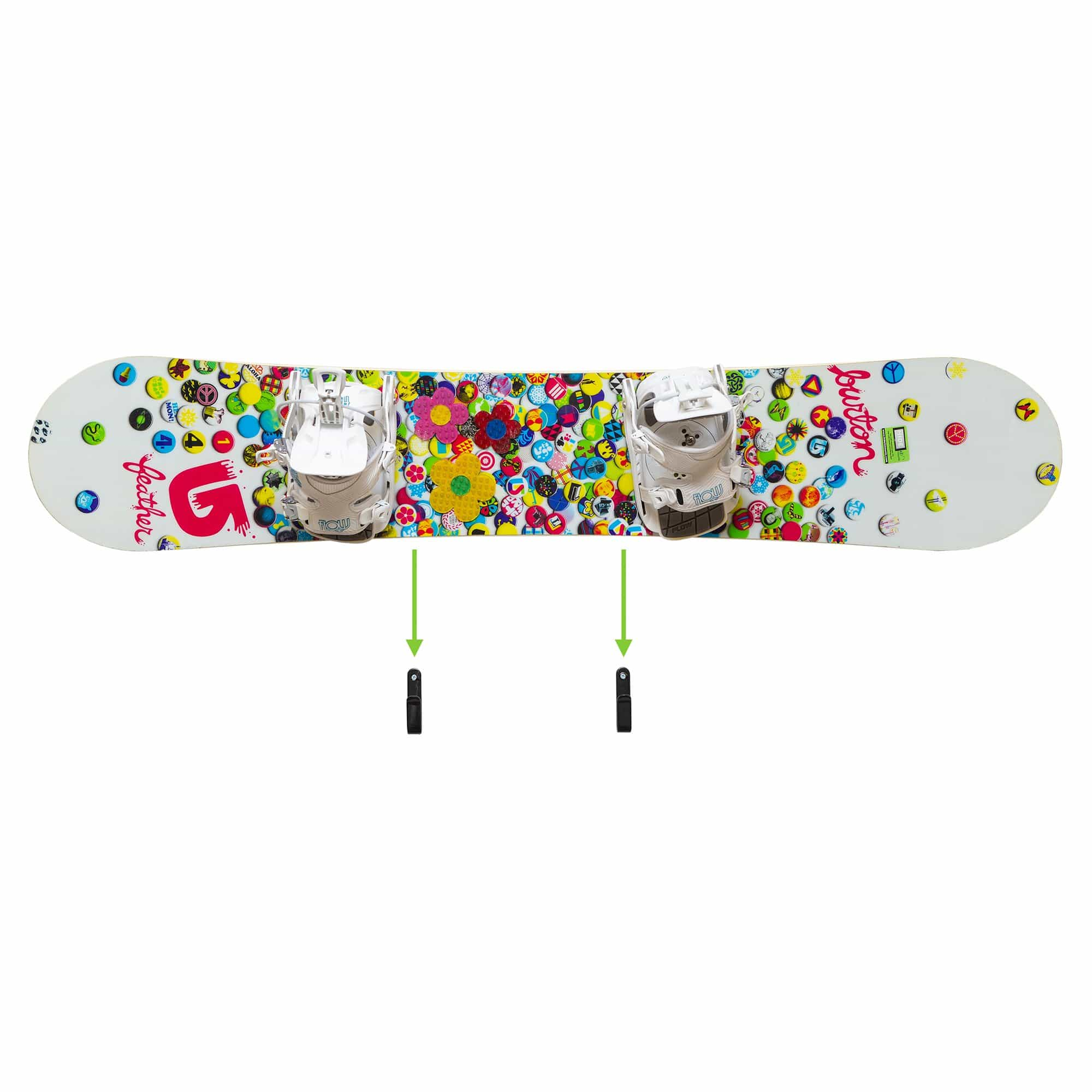 Women's burton snowboard shown being mounted in HIDEit Snowboard Mounting Clips