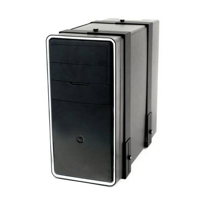 PC Tower securely held in the HIDEit Uni-LXW, designed to wall mount computers.