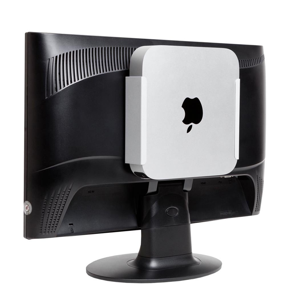 Mac Mini mounted to back of computer monitor using a silver MiniU HIDEit Mount.