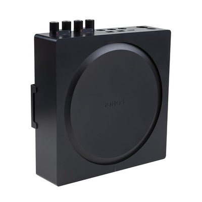 The new Sonos Amplifier mounted in a black, steel HIDEit S-Amp Mount, designed for wall mounting.