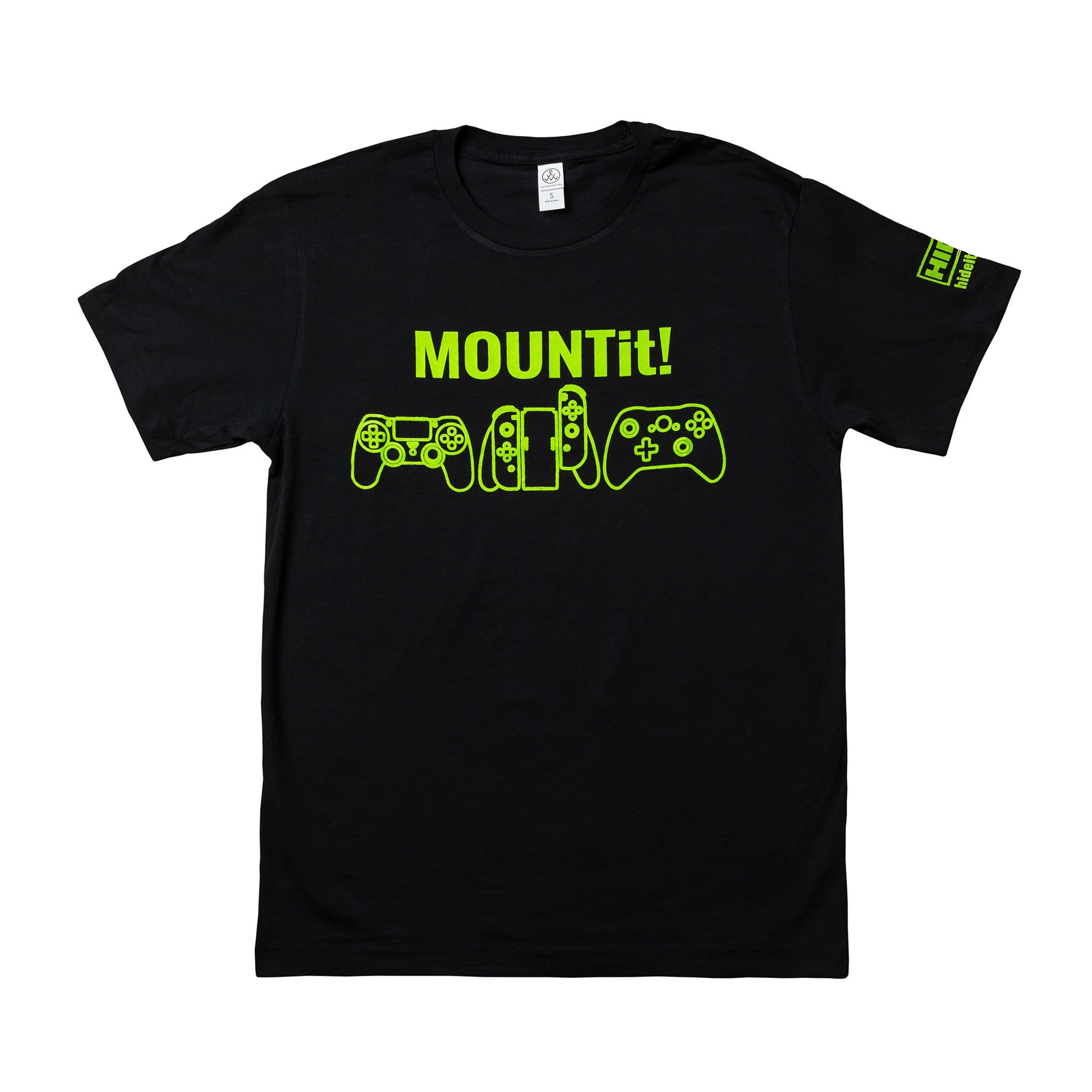 HIDEit Mounts gaming t-shirt. Black, short sleeve t-shirt. Unisex.