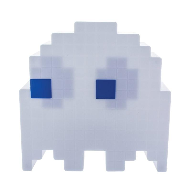 Paladone Pac-man ghost light powered off. Ghost light lights up in 16 different colors.