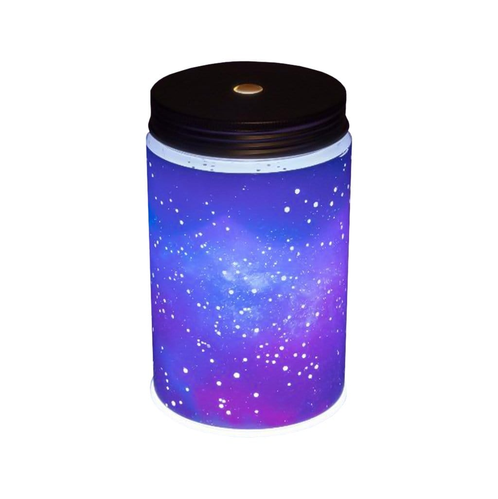 Galaxy in a jar light made by Paladone, sold by HIDEit Mounts. Jar emits purple and blue rays in the shape of real constellations