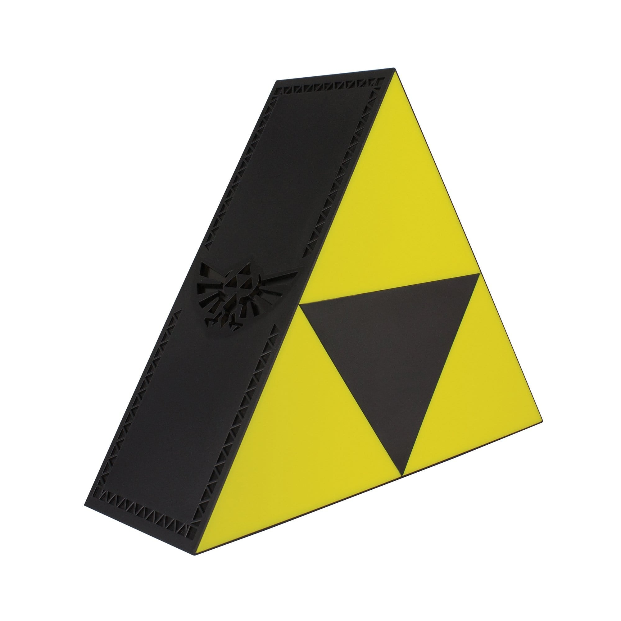 Triforce light made by Paladone, sold by HIDEit Mounts. Triangle light with smaller yellow triangles.