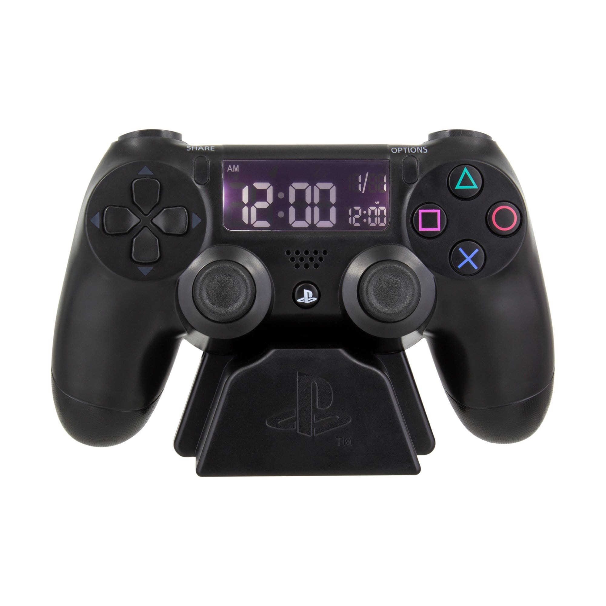 PlayStation Controller Alarm Clock made by Paladone, sold by HIDEit Mounts. Featuring Dual Shock 4 replica controller with the time displayed.