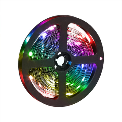 Color changing LED strip lights light up in RGB colors made by HIDEit Mounts.