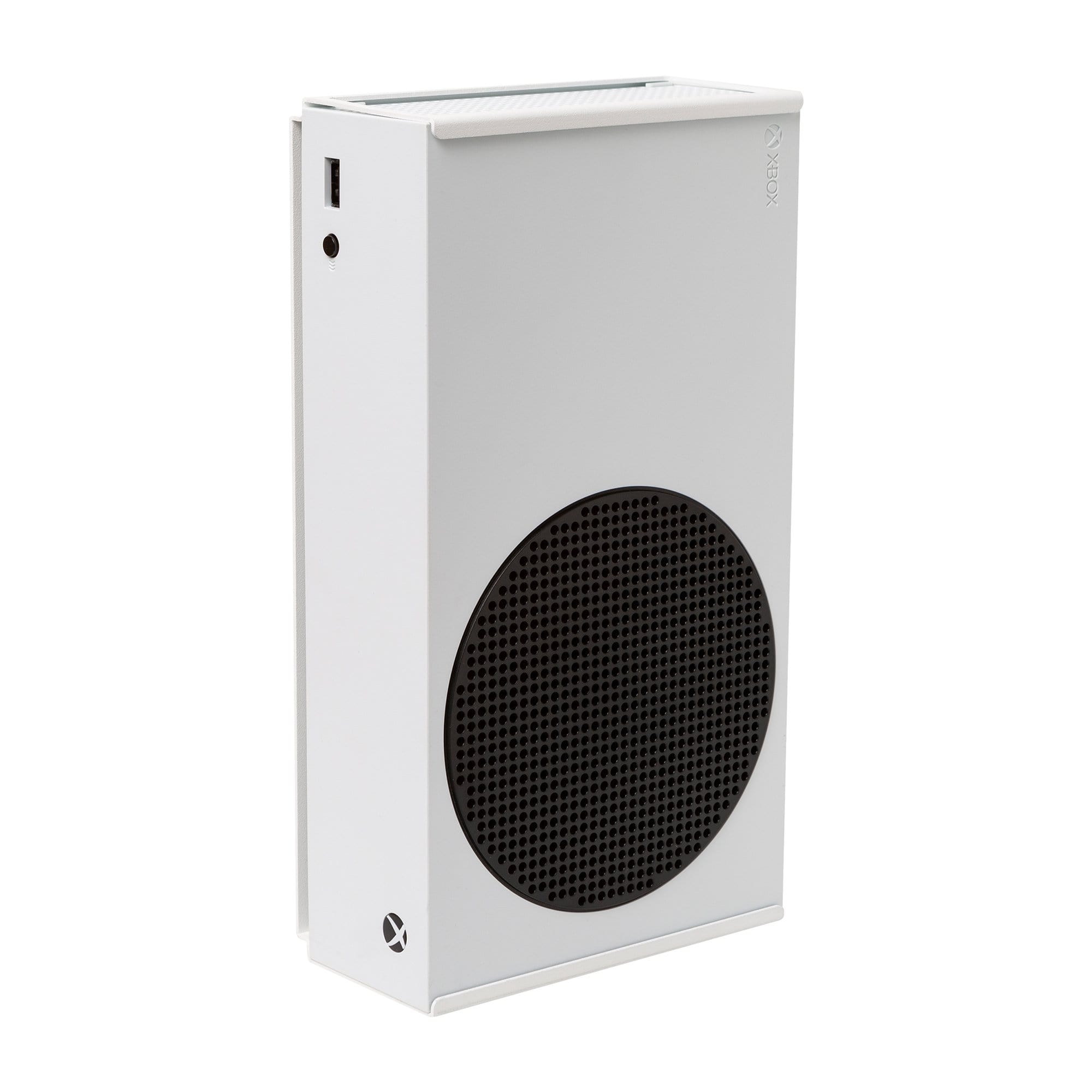 Microsoft Xbox Series S securely held in the HIDEit Xbox Series S Mount in white.