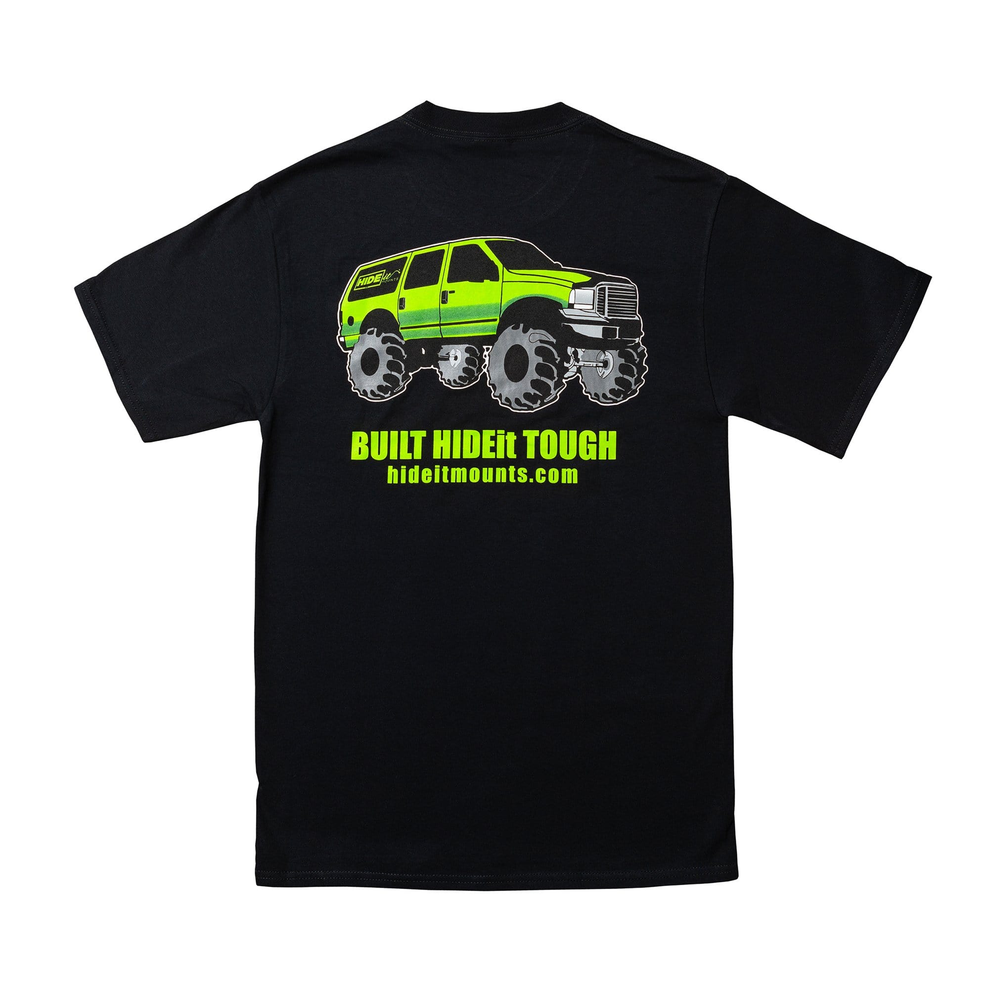 HIDEit Mounts monster truck t-shirt. Black, short sleeve t-shirt. Unisex.