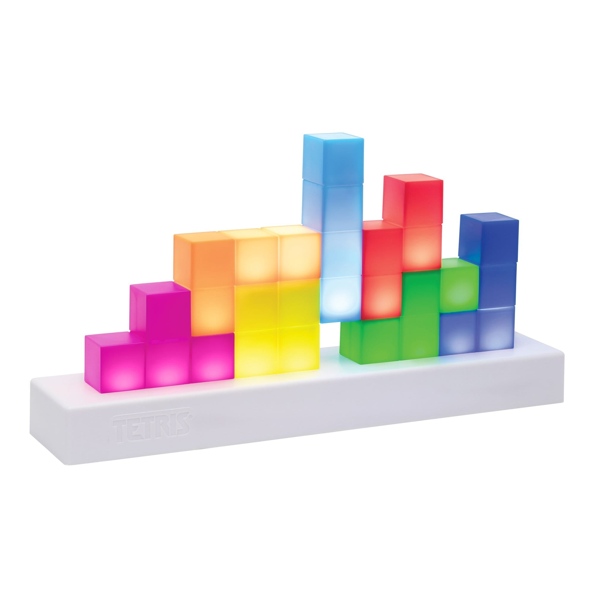 Tetris light made by Paladone, sold by HIDEit Mounts. Light up blocks stacked on a white base.