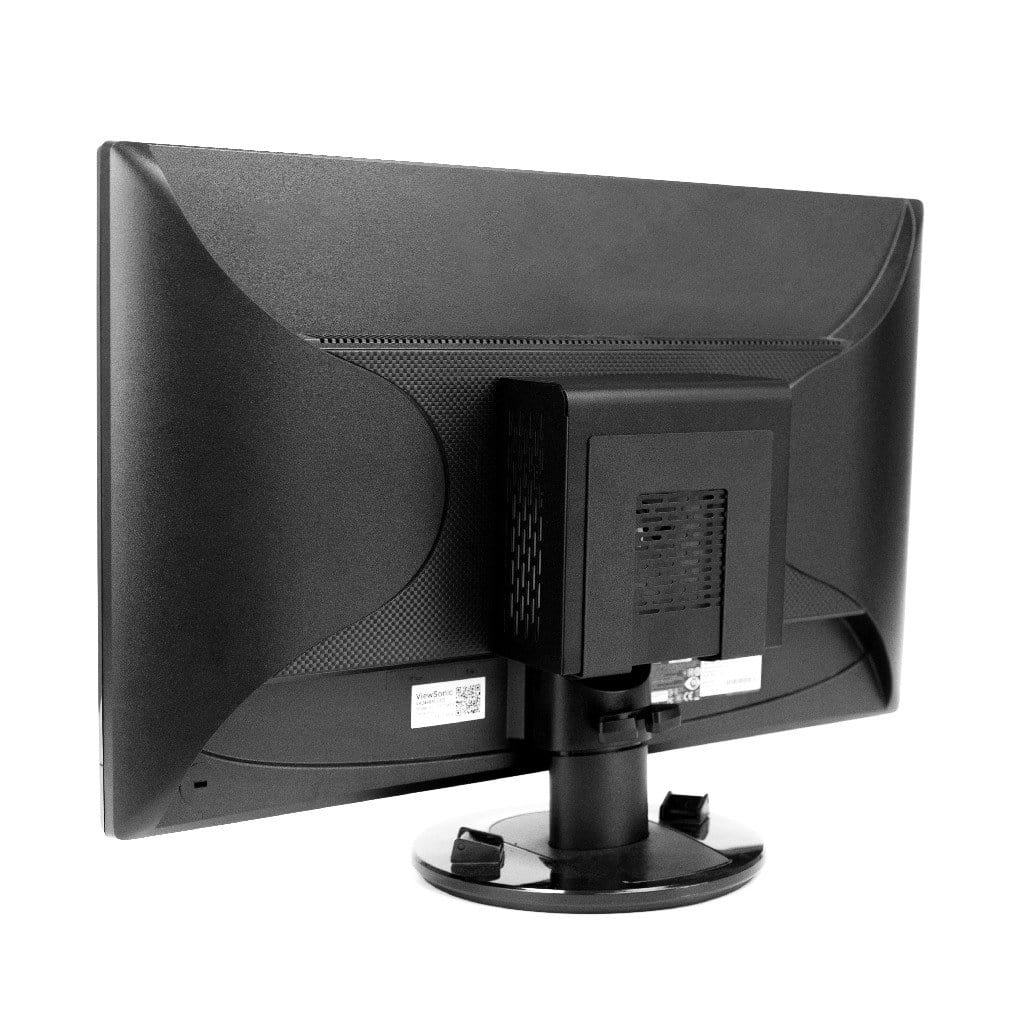 Adjustable HIDEit wall mount VESA mounted to the back of a computer monitor.