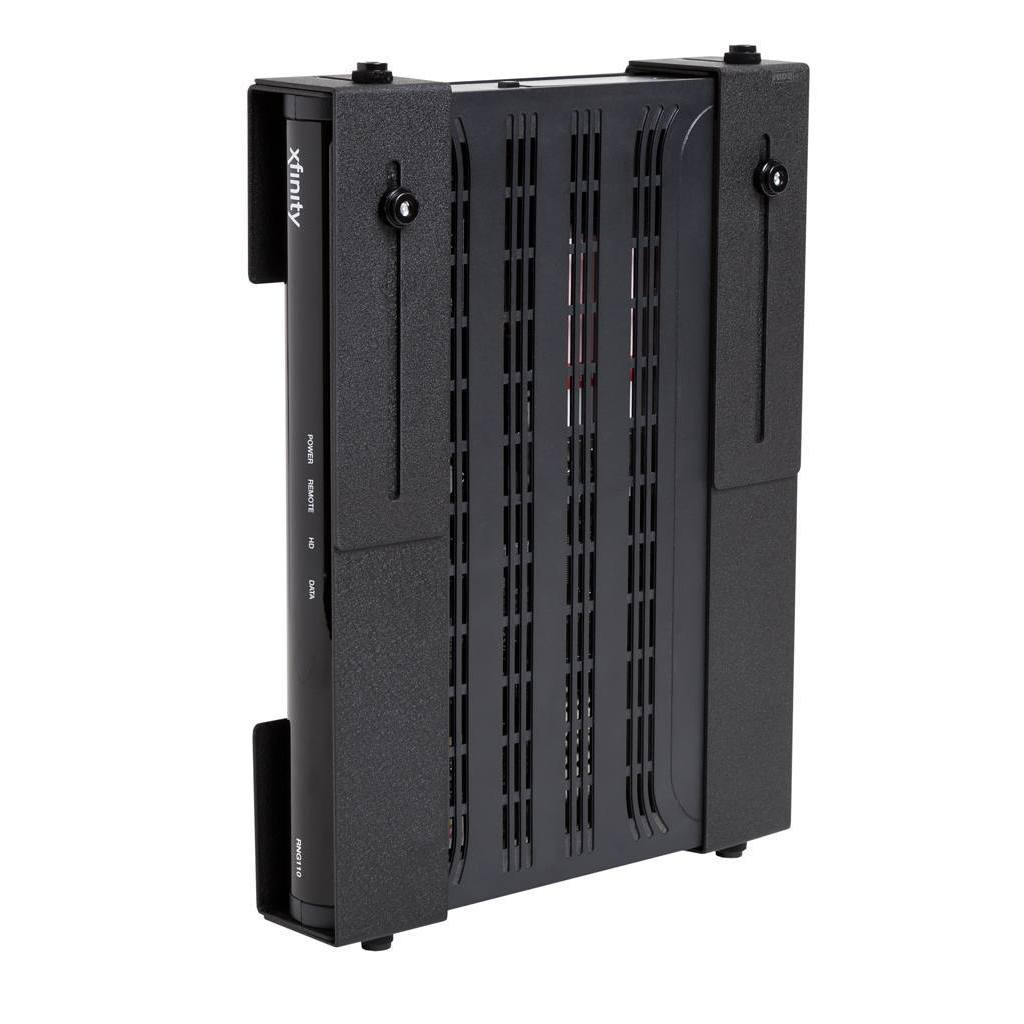 Adjustable HIDEit Uni-M Wall Mount with a medium-sized cable box securely held in it.