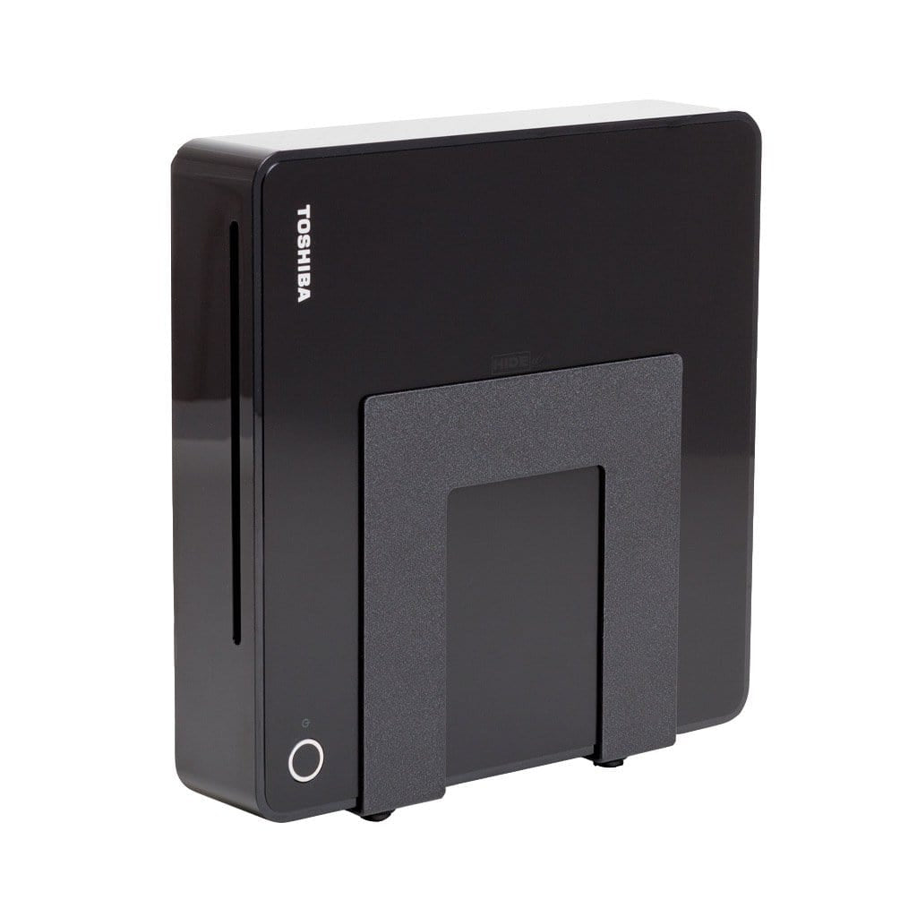 Black adjustable steel HIDEit mount holds small electronics and cable box.