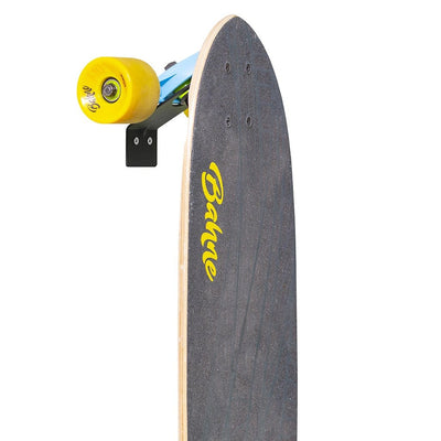Cut out of Bahne skateboard securely stored in the HIDEit Vertical Skateboard Wall Mount.