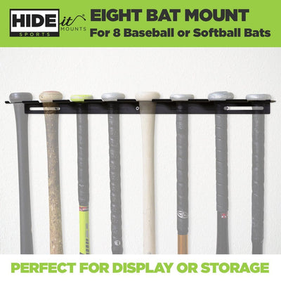 Eight greyed out baseball bats and softball bats mounted in the new wall mount for eight bats.